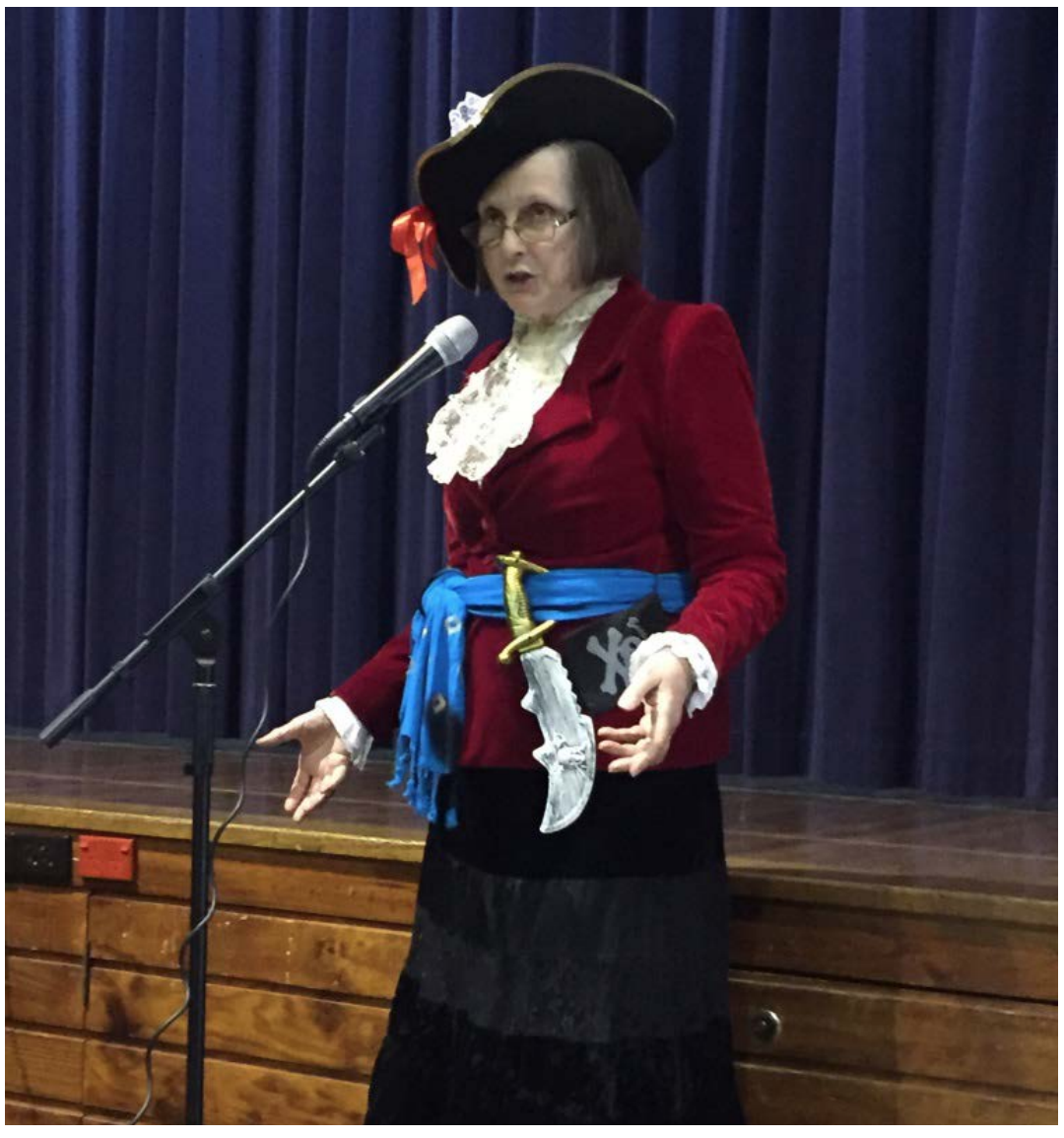 image of librarian dressed as pirate at the book parade.